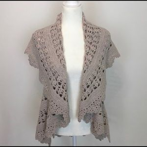 Anthropologie Angel of the North crochet vest XS/S